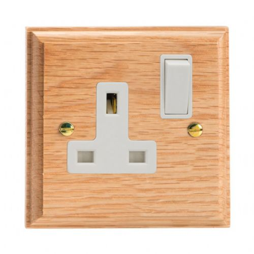 Varilight XK4OW Kilnwood Oak 1 Gang 13A DP Single Switched Plug Socket
